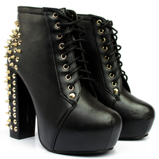 iKrush's Tori Leather Spiked Lace Up Boots