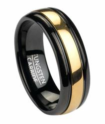 Black Tungsten Men's Ring With Gold Tone Inlay