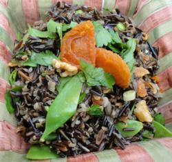 Wild Rice Salad with fruits and vegetables is an excellent choice on a gluten-free Mediterranean diet.