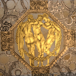 Eglomisé panel created in 22 karat gold leaf, moon gold and palladium.