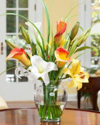 Yellow & Orange Silk Calla Lily Arrangement