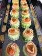 Rainbow Trout and Atlantic Salmon Roulade on Cucumber Petals