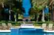 The 70 foot european-style pool has an amazing backdrop - the Caribbean.