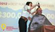 Children's Miracle Network Hospitals president and CEO gets head shaved after organization exceeds goal and raises more than $300 million in 2012 for 170 children's hospitals.