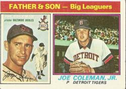 Baseball card of Father and Son, Joe and Joe Jr Coleman