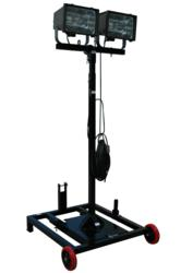 Portable Construction Site Lighting Tower with Wheeled Base