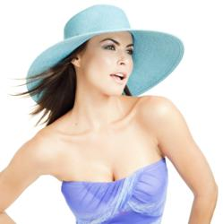 Turqoise straw hat / sun hat with a touch of sparkle Sun Protection Hat