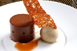 A picture of a desert from the top trio at The Montagu Arms Hotel.