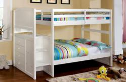 white twin bunk bed with steps