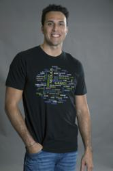 Sixto wearing geeky t-shirt Astronomers Word Cloud from Tees For Your Head