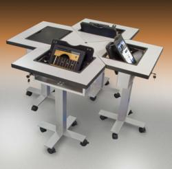 Quint is designed for collaboration groups, used sitting or standing, with options for iPad.