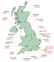 Average cost of Private Tuition per hour by region