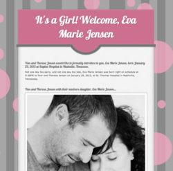 Easily copy, edit and publish a birth announcement page in less than 5 minutes