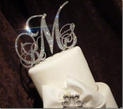 Dazzle Swarovski Monogram Cake Topper by MomentsofElegance.com
