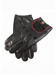 Dents black leather gloves with berry red detailing