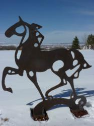 Steel piece by Janene DiRico, many time return guest at Rainbow Trout Ranch, Iron Horse selected to display in Colorado Springs.