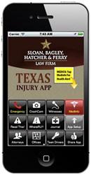 Texas Injury App on iPhone