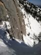 diagonal chute, big cliffs, 45 degrees