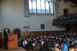 Rep Rush Holt (NJ-12) Speaks to JSA Students at Princeton University's McCosh Hall