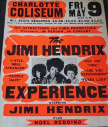 Hawley Finds Jimi Hendrix 1969 Charlotte Coliseum Vintage Concert Poster