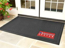 New SuperScrape™ Signature indoor-outdoor logo floor mats mold high quality logos or images into a corner of the rubber door mat