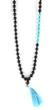 Black Onyx & Turquoise Japa Mala Bead Necklace