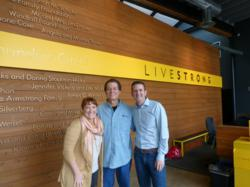 This is a picture of Michael LaBaw CEO of Sound Telecom a nationwide provider of 24/7/365 telephone answering, contact center and cloud-based phone system services visiting with Doug Ulman and Renee Nicholas at the Livestrong Foundation Headquarters