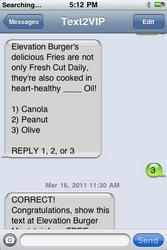 Elevation Burger Text2VIP Screen Grab