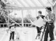 1978- Susan and Bill Sokol Blosser reviewing plans with son, Alex, for Oregon's first tasting room