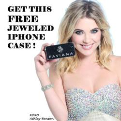 Ashley Benson showcasing her Faviana Jeweled iPhone case