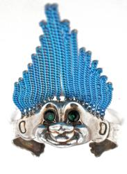 Hand crafted sterling silver troll cuff bracelet with green Swarovski crystal eyes