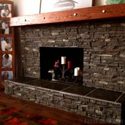 Manufactured stone is a much easier way to give a fireplace a facelift than using real slate