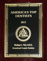 NYC Cosmetic Dentist Dr. Michael J. Wei  received America's Top Dentist of 2013 award