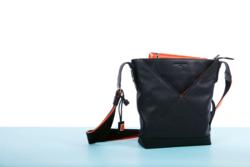 Compact Calf Leather and Canvas Tote Bag