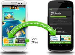 Developers promote apps for free by exchanging banners with other developers and get paid from the secondary advertiser banners