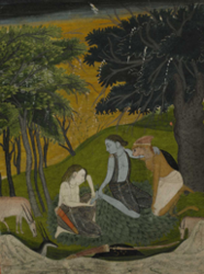 Miniature painting, illustrating a scene from the Ramayana
