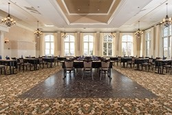 Elegant ballroom in historic mansion at Cranwell Resort, Spa and Golf Club was recently renovated.