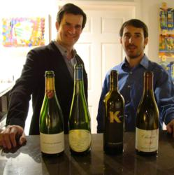 Co-founder of TheWineFeed.com Phillip Zucchino (right) with organic wine importer Thomas Meunier. Many of Meunier's selections from southern France come form organically farmed vineyards.