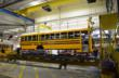 A Blue Bird school bus travels down the production line at the company's headquarters in Fort Valley, Georgia.