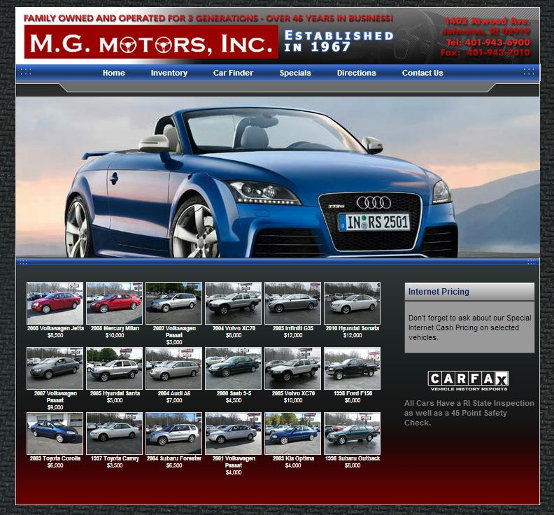 New dealership website for m g motors inc built by for Law motors sioux falls sd
