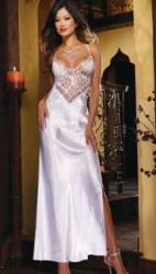 White Satin Charmeuse and Lace Gown