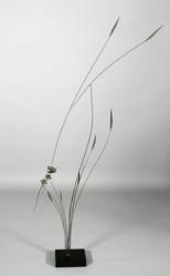 James Turnbull (American, 1909-1976), Kinetic Sculpture with Butterfly and Flowers, bronze with wooden base.