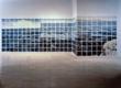 Jennifer Bartlett (b. 1941), Atlantic Ocean, 1984, enamel over silkscreen grid on baked enamel steel plates; 103 x 363 in., Collection of Sueyun Locks, Philadelphia