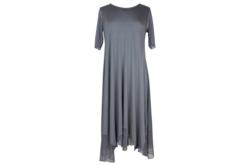 Gorgeous MODAL fabric COMFY USA Dress with Illusion Sleeves and Handkerchief Hem in Mesh