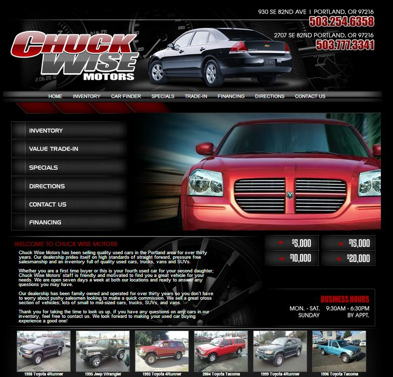 new dealership website for chuck wise motors built by