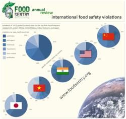 Food Sentry's infographic showing the top 5 food safety violating countries over the past year
