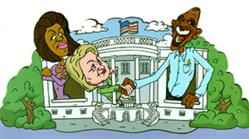 """Obama, Michelle and Hillary  Clinton at the """"Desperate White House"""""""