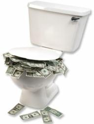 toilet with dollar bills indicating wasted money