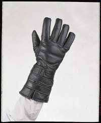 Leather Motorcycle Gloves with Double Strap and Lining