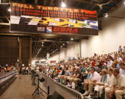A large crowd of spectators pack the stands for Accuride's 2011 National Championship Belt Sander Races